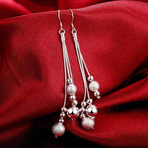 Feshionn IOBI Earrings ON SALE - Triple Strand Silver Beaded Chains French Hook Earrings