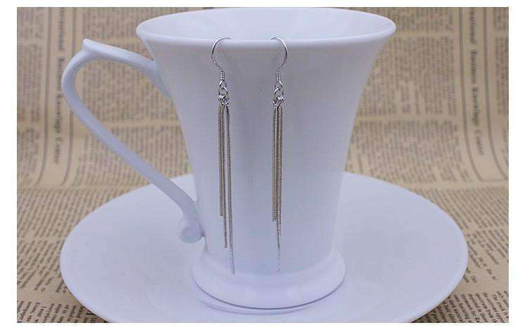 Feshionn IOBI Earrings Silver ON SALE - Triple Tassel Dangling Silver Snake Chain Earrings