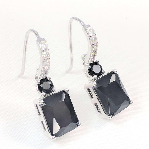 Feshionn IOBI Earrings Onyx Exquisite Emerald Cut 4CT Dangling CZ Earrings