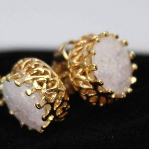 Feshionn IOBI Earrings Opal Polished Druzy Quartz Gemstone Crown Set Stud Earrings - Your Choice of Color