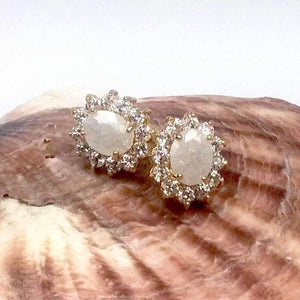 Feshionn IOBI Earrings Opal Polished Pastel Druzy Quartz & CZ Stud Earrings - Your Choice of Color