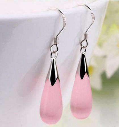 Opalescent Cat Eye Waterdrop Dangling Hook Earrings