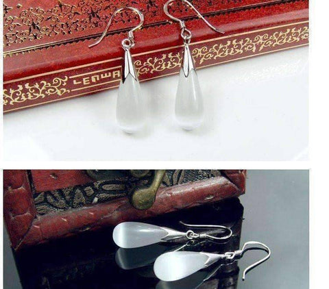 Feshionn IOBI Earrings Opalescent Cat Eye Waterdrop Dangling Hook Earrings