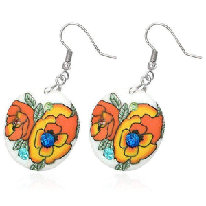 Feshionn IOBI Earrings Orange Roses Round Handcrafted Floral Cane Work Clay & CZ Earrings ~ Five Lively Colors to Choose From