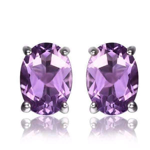 Feshionn IOBI Earrings Oval Amethyst Earrings Amethyst Oval Cut 1.4CTW IOBI Precious Gems Stud Earrings
