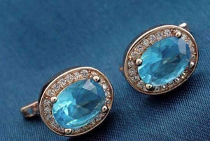Feshionn IOBI Earrings Oval Solitaire Halo Earrings in Sapphire, Emerald, Topaz or White CZ