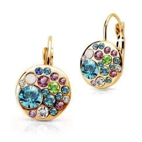 Feshionn IOBI Earrings Aqua Party Confetti Austrian Crystal Rose Gold Plated Leverback Earrings