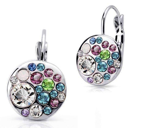 Feshionn IOBI Earrings Party Confetti Austrian Crystal White Gold Plated Leverback Earrings