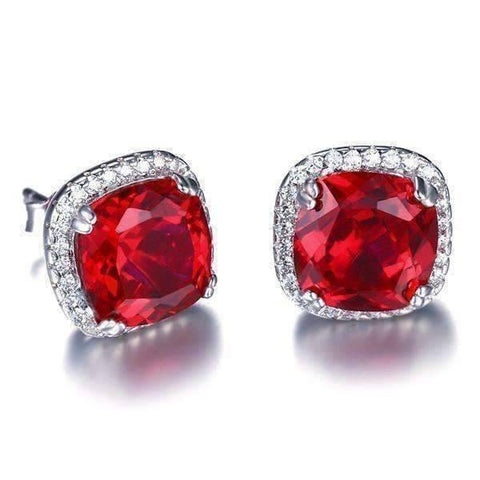 Feshionn IOBI Earrings Passion Rubellite Cushion Cut 6.6CTW IOBI Precious Gems Halo Earrings