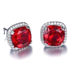 Passion Rubellite Cushion Cut 6.6CTW IOBI Precious Gems Halo Earrings