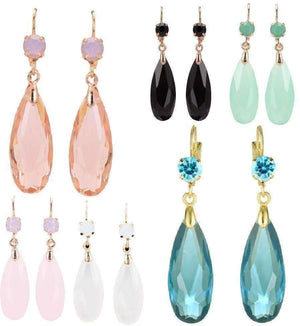 Feshionn IOBI Earrings Peach Fascinating Long Teardrop Bead and CZ Dangle Earrings ~ Six Colors to Choose!