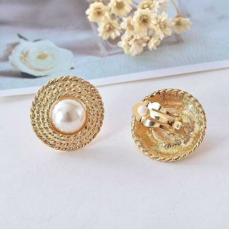 Feshionn IOBI Earrings Pearl Bead Accented Golden Basketweave Clip-On Earrings