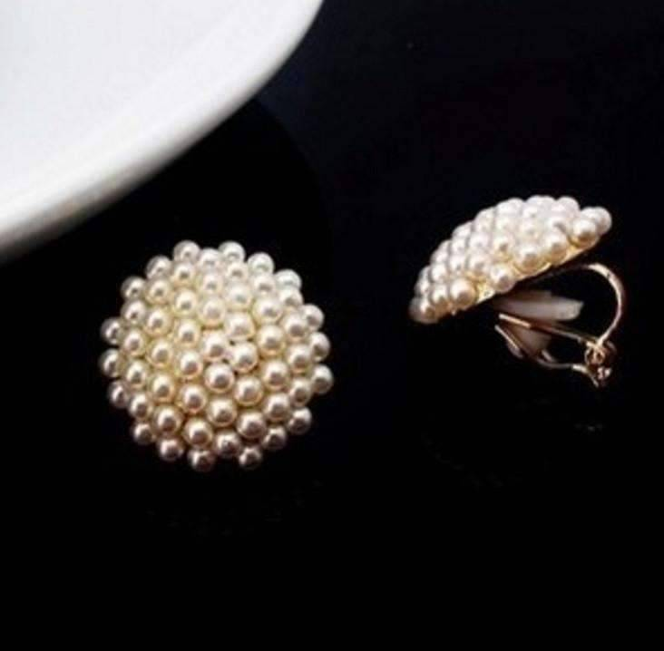 Feshionn IOBI Earrings Pearl Bead Cluster Clip-On Earrings