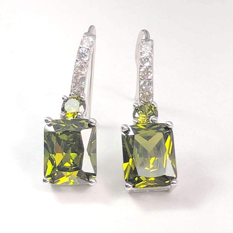Feshionn IOBI Earrings Peridot Exquisite Emerald Cut 4CT Dangling CZ Earrings