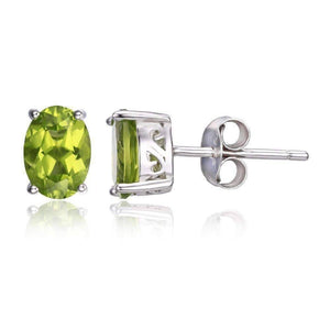 Feshionn IOBI Earrings Peridot Oval Earrings Precious Peridot Oval Cut Genuine 1.6CT IOBI Precious Gems Stud Earrings