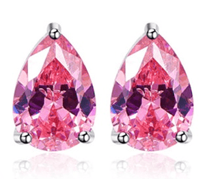 Feshionn IOBI Earrings Persian Pink Pear 3.15CT Pink Topaz IOBI Precious Gems Earrings