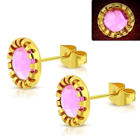 Feshionn IOBI Earrings Pink / 18K Gold Plated ON SALE - Aurora Borealis Glass Button Stud Stainless Steel Earrings