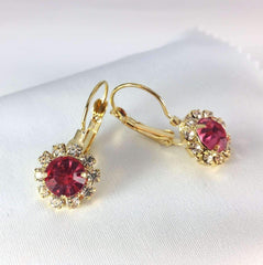 Pink Crystal Flower Drop Earrings ~ White or Yellow Gold