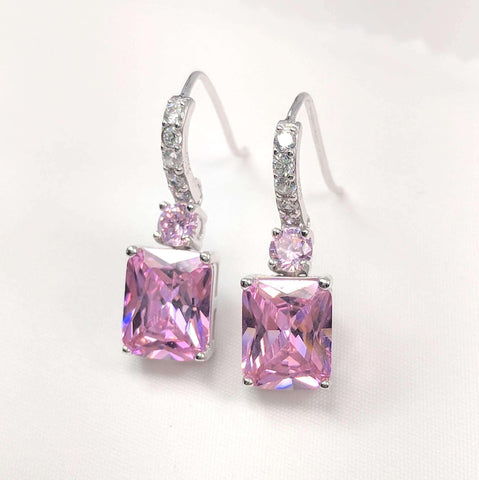 Feshionn IOBI Earrings Pink Exquisite Emerald Cut 4CT Dangling CZ Earrings