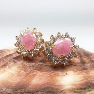 Feshionn IOBI Earrings Pink Polished Pastel Druzy Quartz & CZ Stud Earrings - Your Choice of Color