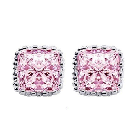 Feshionn IOBI Earrings Pink Sapphire on Platinum Plated Royal Princess 6mm Cut Simulated White Or Pink Sapphire Stud Earrings