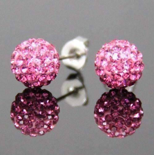 Feshionn IOBI Earrings Pink Shamballa Pink Crystals on 925 Silver Stud Earrings