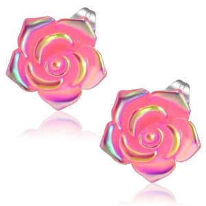 Feshionn IOBI Earrings Pink Shimmering Pink Rose Stud Earrings