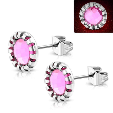 Feshionn IOBI Earrings Pink / Stainless Steel ON SALE - Aurora Borealis Glass Button Stud Stainless Steel Earrings