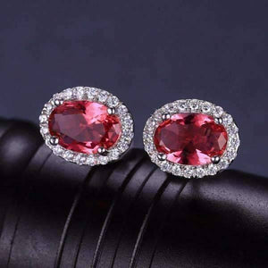 Feshionn IOBI Earrings Pink Tourmaline Oval Cut 2.1CTW IOBI Precious Gems Halo Earrings
