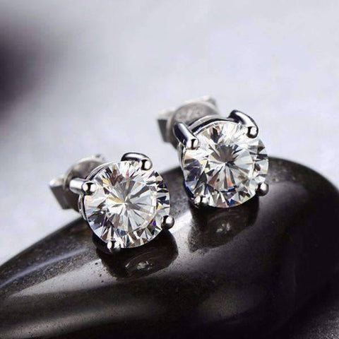 Feshionn IOBI Earrings Platinum / 2 Carat Opulence Round IOBI Cultured Diamond Solitaire Stud Earrings