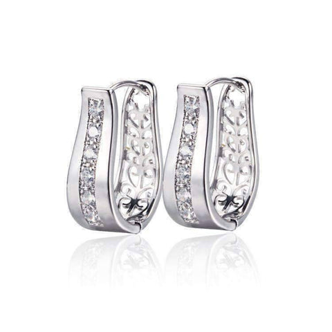 Feshionn IOBI Earrings Platinum 2 in 1 Platinum Plated with Crystal Diamonds Filigree Hoop Earrings