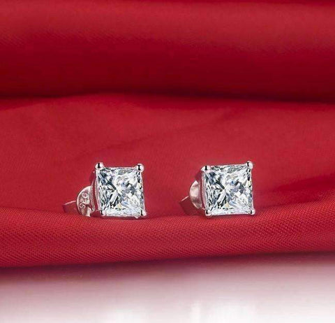 Feshionn IOBI Earrings Platinum / .40 Ct Tiara Princess Cut IOBI Cultured Diamond Solitaire Stud Earrings