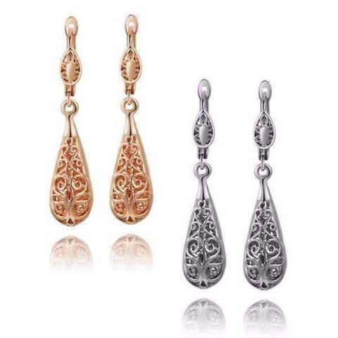 Feshionn IOBI Earrings Platinum Arabesque Filigree Puff Teardrop Earrings