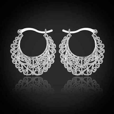 Feshionn IOBI Earrings Platinum Large Platinum Filigree Design Earrings