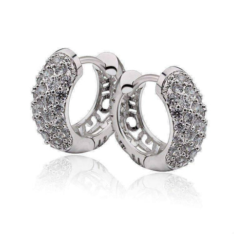Feshionn IOBI Earrings Platinum OB Youthful Collection - Petite Diamond Pave Platinum or 18K Yellow Gold Filigree Hoop Earrings