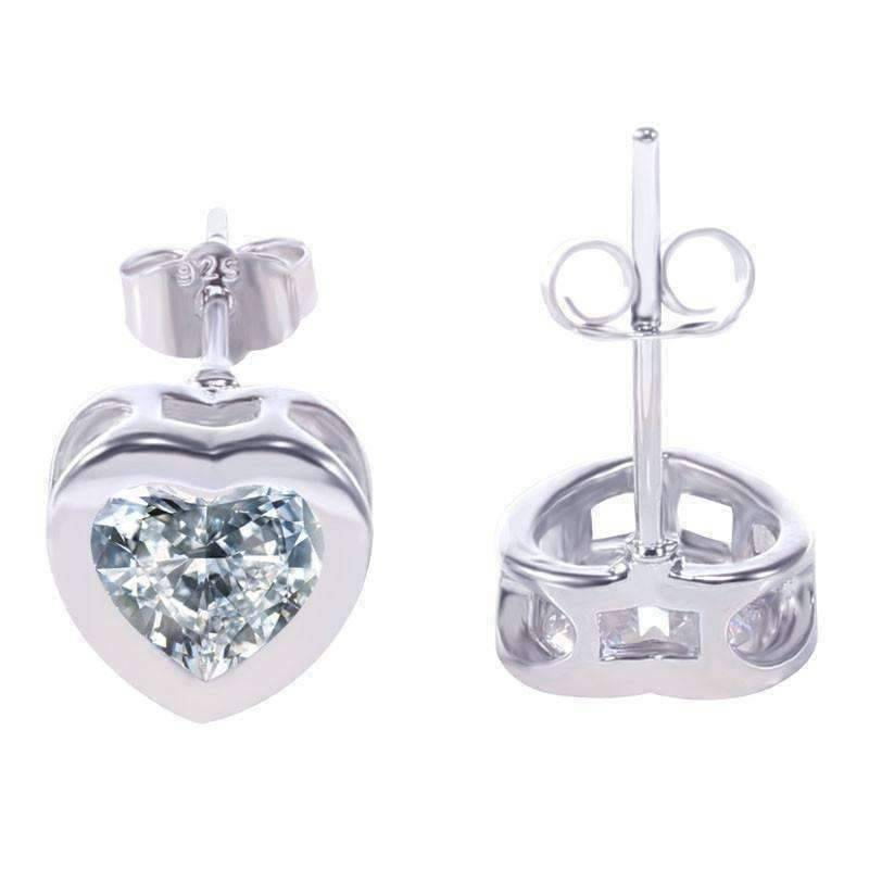 Feshionn IOBI Earrings Platinum ON SALE - Heart Shaped Bezel IOBI Crystals Earrings
