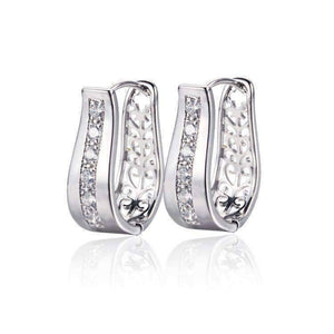 Feshionn IOBI Earrings Platinum ON SALE - OB Youthful Collection - Crystal Diamonds Channel Set Filigree Hoop Earrings