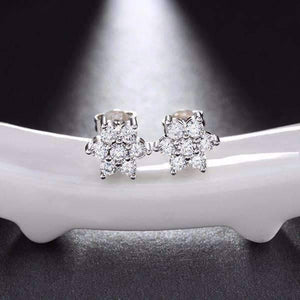 Feshionn IOBI Earrings Platinum Plated ON SALE - Delicate Flower CZ Stud Earrings