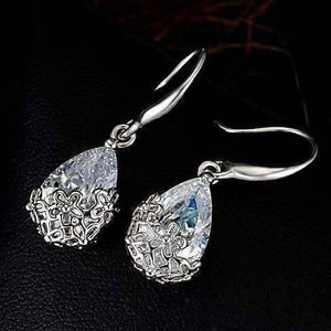 Feshionn IOBI Earrings Platinum Plated ON SALE - Infused Diamond Dust Dangling Earrings