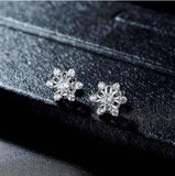 Winter White Austrian Crystal Snowflake Stud Earrings