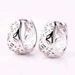 ON SALE - Silver with Platinum P Filigree Flower Huggie Earrings