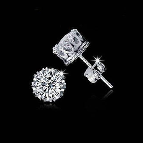Feshionn IOBI Earrings Platinum / Standard Royal Crown IOBI Crystals Stud Earrings