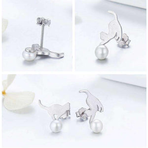 Feshionn IOBI Earrings Playful Kitten and Pearl Ball Sterling Silver Stud Earrings