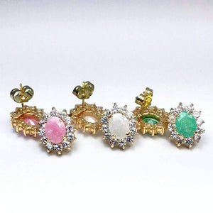 Feshionn IOBI Earrings Polished Pastel Druzy Quartz & CZ Stud Earrings - Your Choice of Color