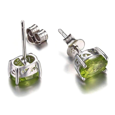 Feshionn IOBI Earrings Precious Peridot Oval Cut Genuine 1.6CT IOBI Precious Gems Stud Earrings