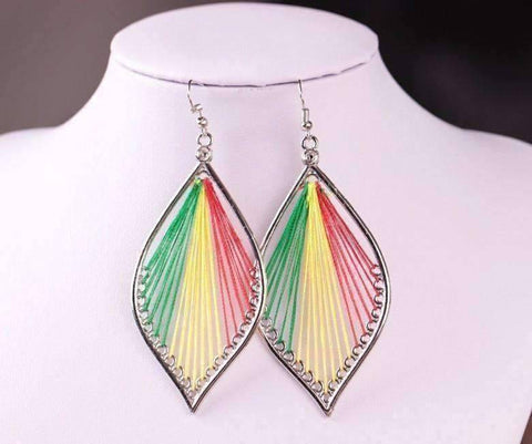 Feshionn IOBI Earrings Primary Global Beauty Silk Thread String Art Drop Earrings In Three Colors
