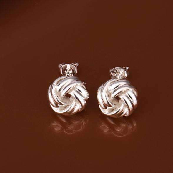 Feshionn IOBI Earrings Puffy Love Knots Sterling Silver Earrings