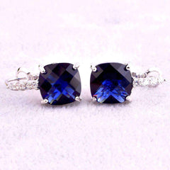 Pure - IOBI Crystals Royal Blue Color Drop Earrings