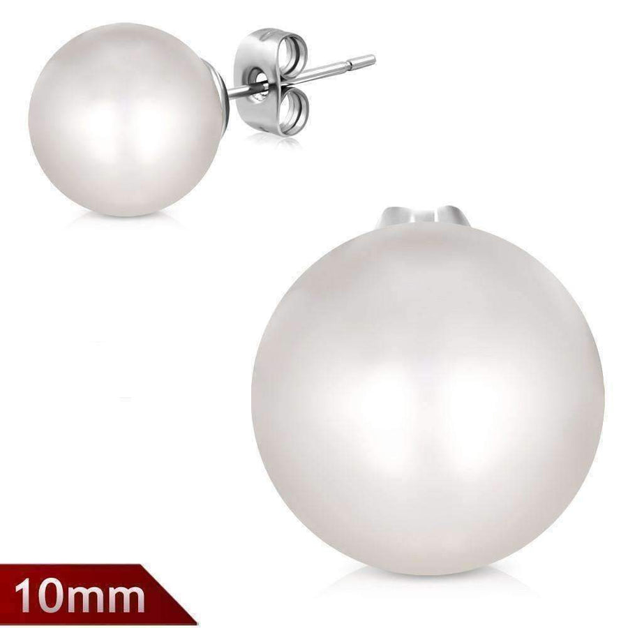 Feshionn IOBI Earrings Pure White Pure White Pearl Bead Solitaire Stud Earrings on Stainless Steel