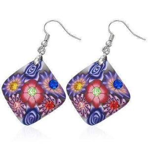Feshionn IOBI Earrings Purple Diamond Handcrafted Floral Cane Work Clay & CZ Earrings ~ Two Lively Colors to Choose From